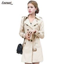 Trench-Coat Outerwear Long Women Belt Autumn Double-Breasted Slim Luzuzi for Casaco Feminino