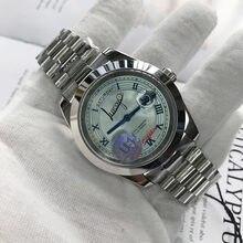Reloj de pulsera automático para hombre, accesorio masculino de pulsera de plata de ley 40mm con números arábigos, tamaño AA, de lujo, con 3 tipos de moda, U1, Rolexable Barre y, con fecha y día de fábrica