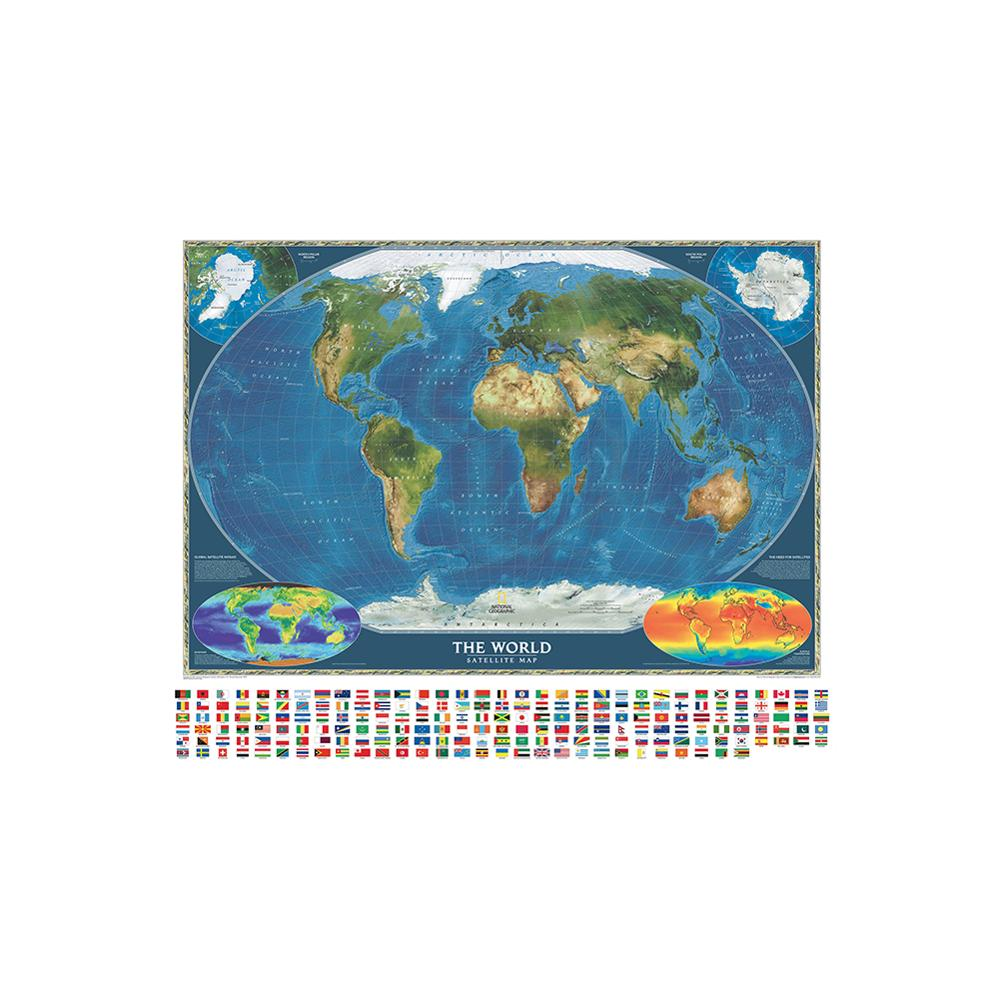 150x225cm The World Satellite Map With Surface Temperature And Biosphere Non-woven World Map With National Flags