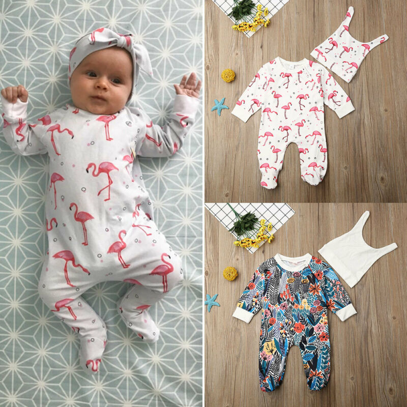 Newborn Baby Footies Clothes 2019 Autumn Baby Boys Jumpsuits Flamingo Print Footies Long Sleeve Jumpsuit Hats Baby Girls Outfits