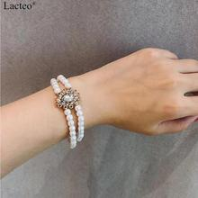 Lacteo Bohemian Double Layer Rhinestone Bracelet Bangle Statement 2019 Fashion for Women Pearl Chain Female Jewelry