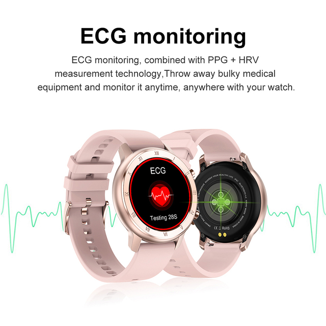 Full Touch Smart Watch Women IP68 Waterproof Bracelet ECG Heart Rate Monitor Sleep Monitoring Sports Smartwatch For Ladies 4