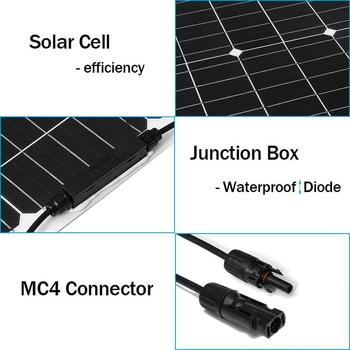 18V Solar Panel 300W/150W Semi-flexible Monocrystalline Solar Cell DIY Cable Waterproof Outdoor Connector Battery Charger 5