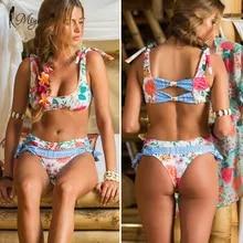 Miyouj Profondo Scollo A V Bikini Stampa Floreale Costume Da Bagno Biquinis Feminino 2020 Arco Costumi Da Bagno Del Merletto Up Bikini Set Vestito di Bagno Delle Donne bikins