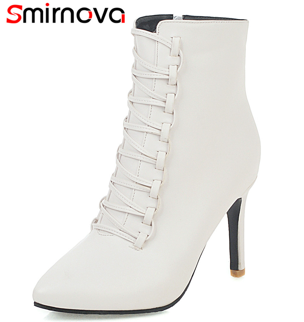 Ankle-Boots Dress-Shoes Wedding Office Pointed-Toe Zipper Big-Size Women New 34-48