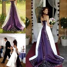 Популярные белые и фиолетовые Свадебные платья 2020 с вышивкой