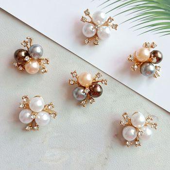 10Pcs/Set 20x20mm Imitation Pearl Rhinestone Flower Embellishments Brooch Flatback Buttons for DIY Crafts Wedding Party Accessor