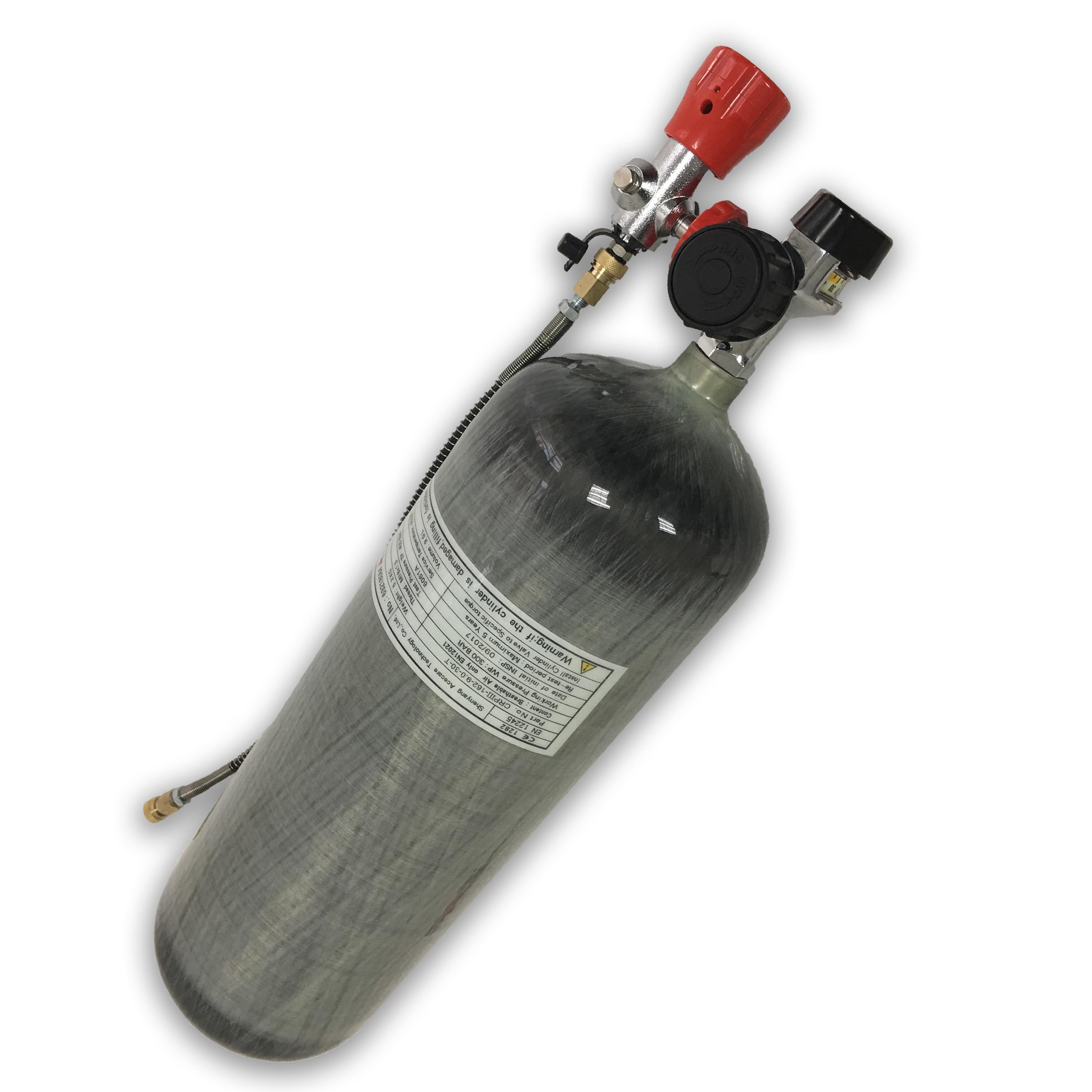 AC109201 Scuba Pcp Aluminum Oxygen Tank 9L 30Mpa  High Pressure Cylinder Carbon Fiber Valve Scuba Diving Cylinder Pcp Air Rifle