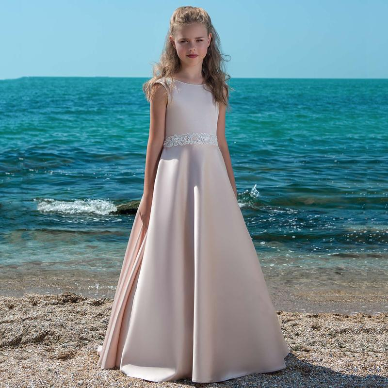 Princess Lace Flower Girl Dresses 2020 Tulle Girls Pageant Dresses First Communion Dresses Pink Lovely Kids Evening Gowns