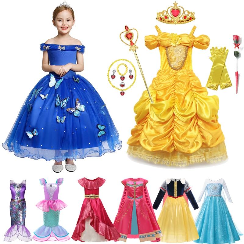 Платье принцессы Холодное сердце Эльза Анна Снежная Королева Косплей Костюм Хэллоуин тюлевые платья для девочек рождевечерние ринка