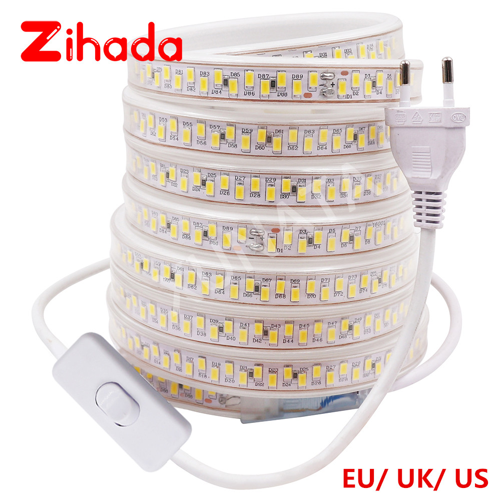 110V 220V SMD 5630 LED Strip Light Waterproof 180Leds/m Double Row Kitchen Outdoor Garden LED Light Lamp With Switch