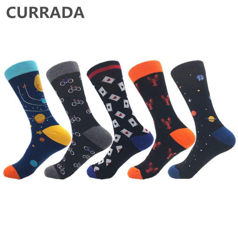 CURRADA 5 Pairs/lot Funny Men Combed Cotton Socks Colorful Happy Crew Casual Dress Socks Novelty Hip Hop Trend Compression Socks
