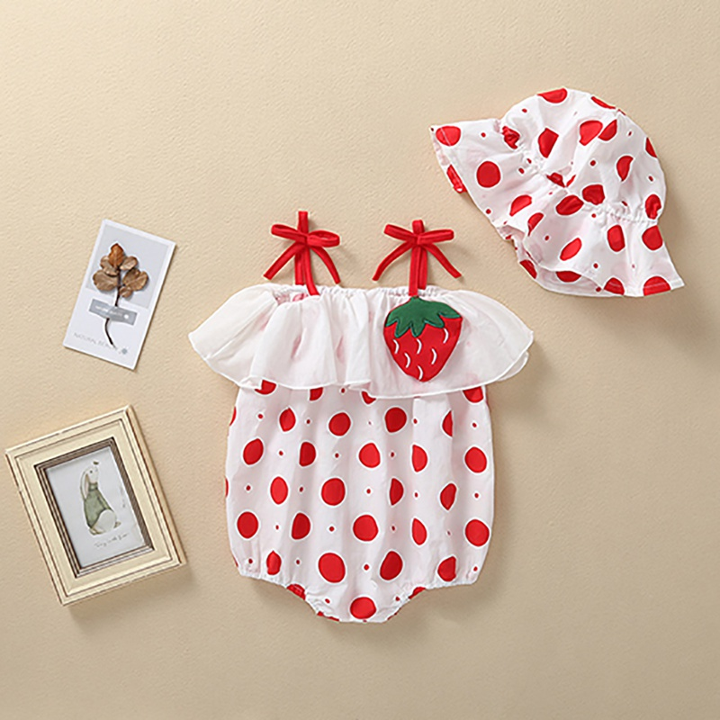 Summer New Baby Girl Strawberry Sling Hat Baby Romper + Hat 2 Pieces Cotton Romper Fashion Kid Outfit Cloth Size 0-18M