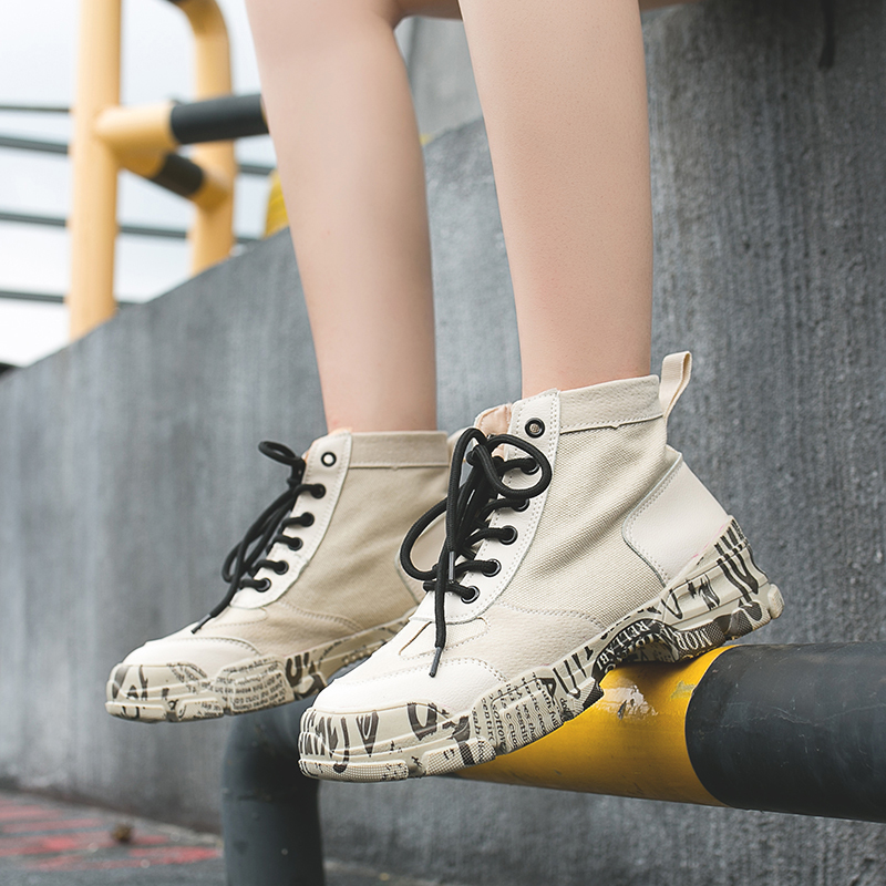 Graffiti Ankle Boots Women Pink Lace Up Martin Autumn 2019 Fashion Brown Ladies Shoe