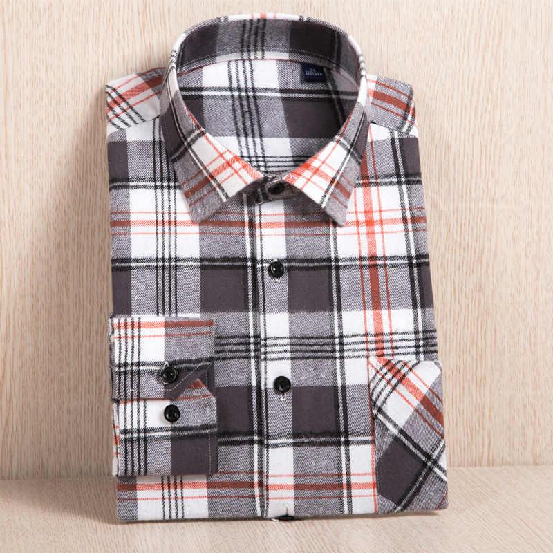2019 Baru Plaid Flanel Shirt Plus Ukuran 5XL 6XL Lembut Nyaman Musim Semi Pria Slim Fit Bisnis Kasual Panjang kemeja Lengan