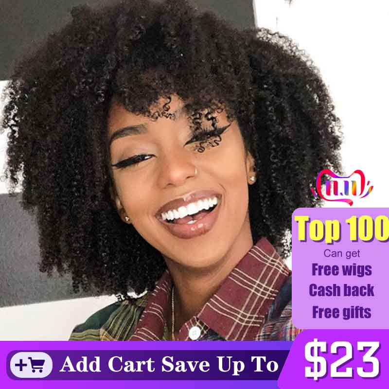 Afro Kinky Curly Human Hair Wig Short Bob 360 Lace Frontal Wig Brazilian Lace Front Wigs For Women 180 Black Remy 370 Dolago