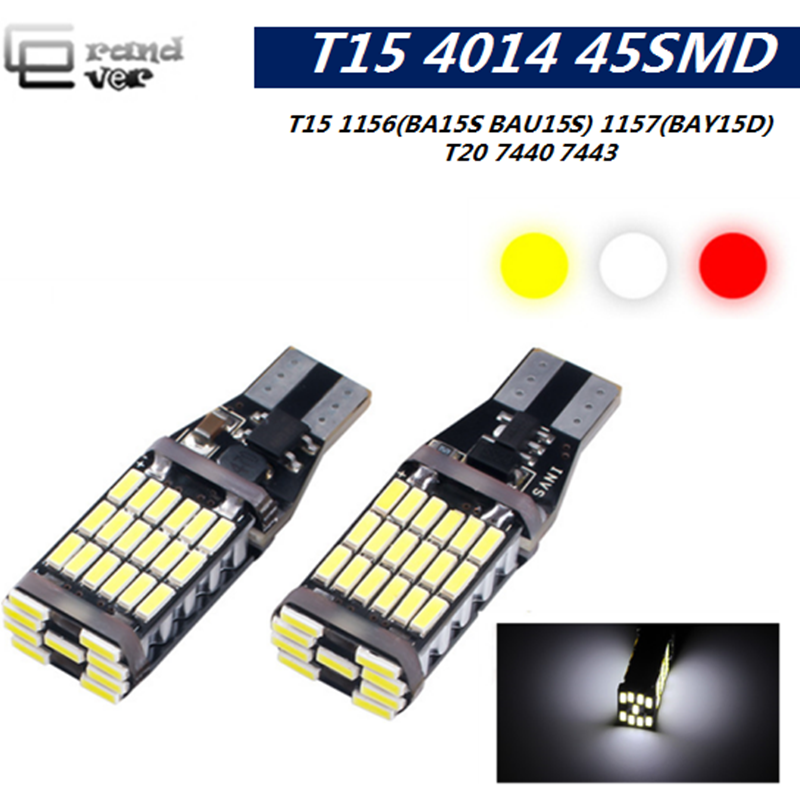 1PCS T15 Lâmpadas LED Canbus 1156 BA15S BAU15S LED 4014 45SMD Super bright1157 BAY15D LED para sinal de volta do carro invertendo luz de freio