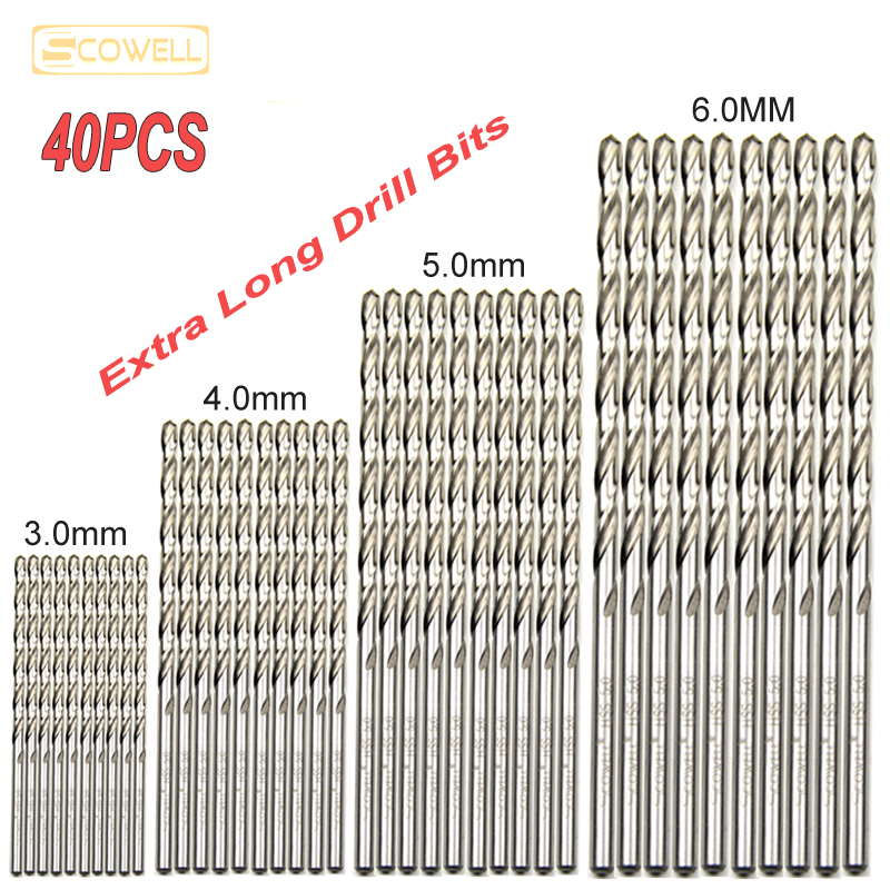 30% Off 40pcs HSS Extra Long Drill Bits For Wood Metal 3mm,4mm5mm,6mm Ultra Length Jobber Drill Bits For Metal Wood Drill Bits
