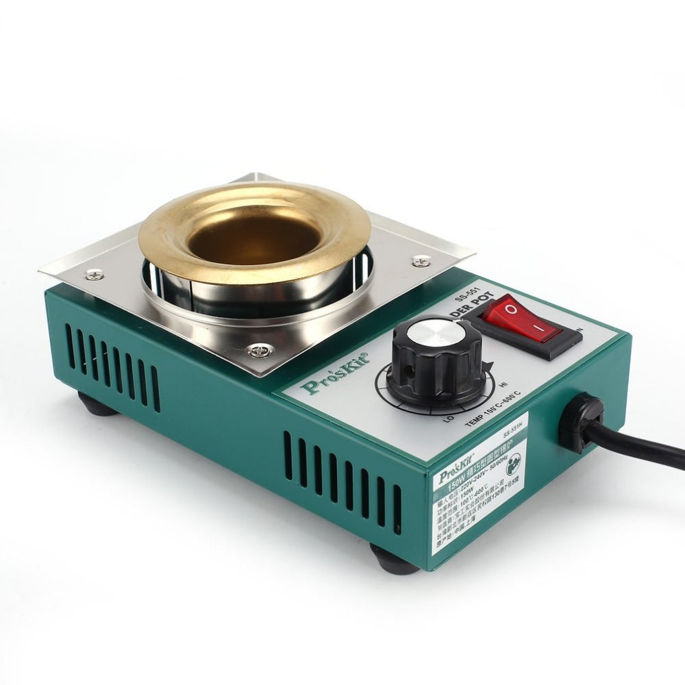 Proskit 150W Solder Pot Tin Melting Soldering Desoldering Bath Furnace 100-600 Degree Fast Heating Adjustable Temp Welding Tool