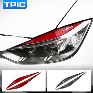 TPIC 2 Pcs/lot Headlights Eyebrow Eyelids Carbon Fiber Trim Cover Sticker M Performance Decor For BMW F30 F35 2013-2019 3 Series