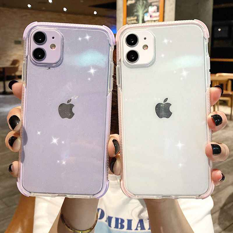 Lembut Silikon Shockproof Transparan untuk Iphone 11 12 Pro Max Mini XS X XR 7 8 Plus SE 2020 Glitter TPU Case Penutup