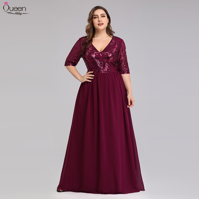 Plus Size Burgundy Mother Of The Bride Dresses A-Line V-Neck Sequined Lace Farsali Elegant Mother Dress For Party Robe De Soiree 2