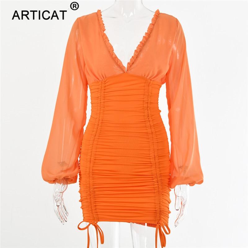 Articat Chiffon Summer Autumn Dress Women 19 Sexy Long Sleeve Slim Elastic Bodycon Bandage Dress Short Pleated Party Dresses 15