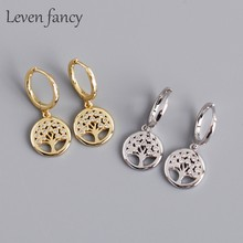 925 Sterling Silver Peace Tree Drop Earrings Women Jewelry Wedding Party Gift Micro Pave CZ Stone Life Tree Dangle Earrings(China)