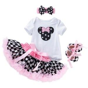 Одежда для девочек с Минни и Микки Маусом, 3 м, 6 м, От 1 до 2 лет, милый детский комбинезон, детский летний костюм с коротким рукавом на день рожд...