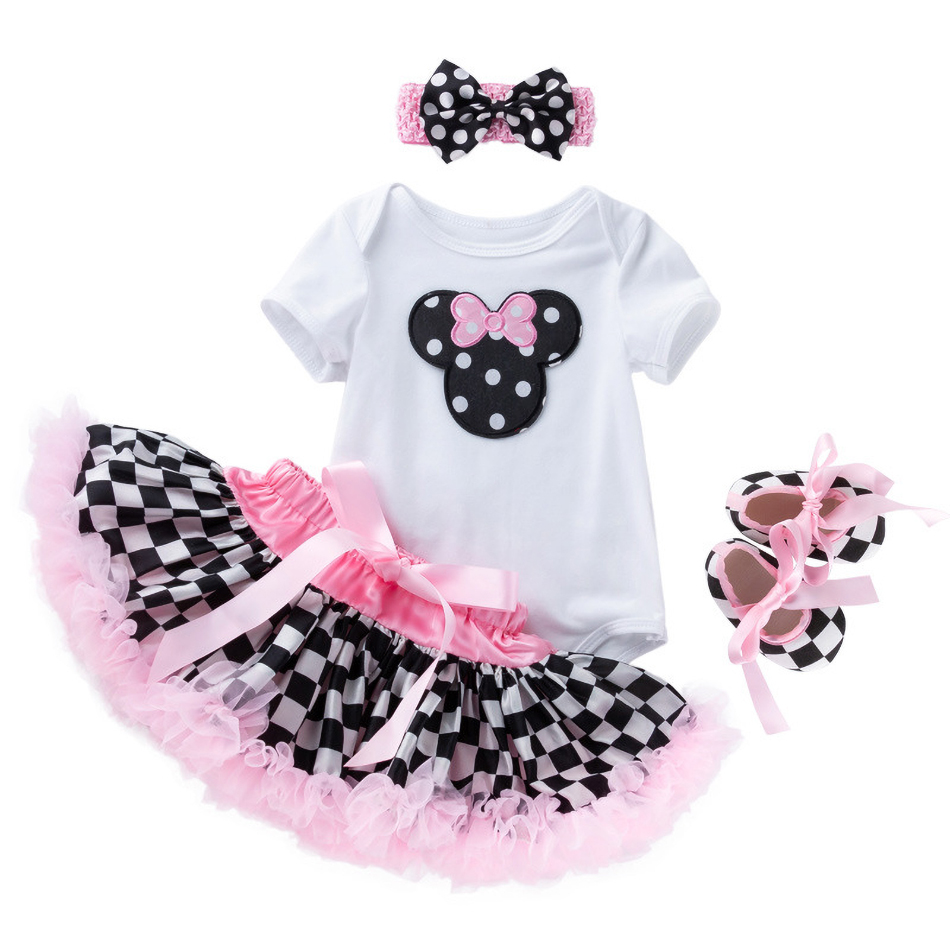 3M 6M 1 2 Years Baby Girls Minnie Mickey Cartoon Mouse Clothes Kids Cute Romper Children Summer <font><b>Short</b></font> <font><b>Sleeve</b></font> Birthday Costume image
