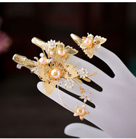 Alloy inlaid artificial gemstones Bride New Ancient Finger Sheath Xiuhe Dress Dragon Phoenix Wear Marriage Photo Jewelry Flower