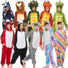 Nieuwe Winter Eenhoorn Pyjama Voor Kinderen Kigurumi Animal Pyjama Kids Panda Onesie Jongens Meisjes Nachtkleding Unicornio Jumpsuit