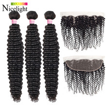 Malaysian Kinky Curly Hair With Closure Nicelight Deep Curly Bundles Frontal With Bundles Human Hair Weave With Fronta l8-26Inch(China)