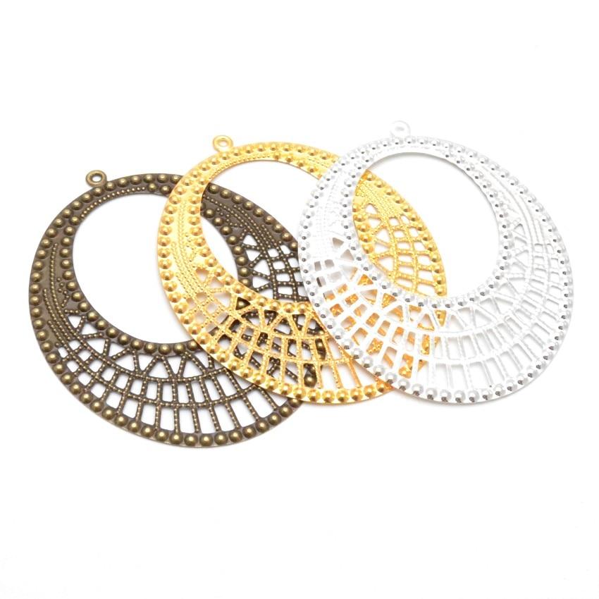 10 pçs prata/ouro/bronze filigrana envolve conectores de flores ovais metal artesanato decoração presente diy descobertas 64*80mm