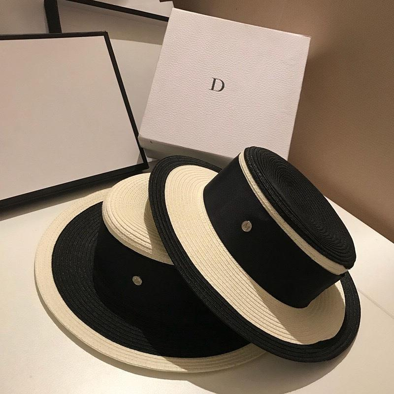 Women Black White Joint Straw Hat Ribbon Letter Brim Boater Hat Derby Beach Sun Hat Cap Lady Summer Wide Brim Uv Protect Hats