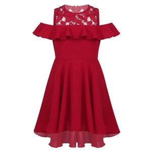 Image 5 - 膝丈レーススプライス高値安値裾フラワーガールのドレス子供フリルトリミングコールド肩ハイウエストの誕生日のドレス