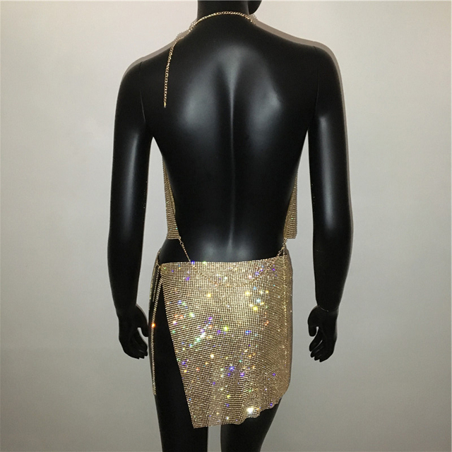 AKYZO Women Sparkly Rhinestone Sexy Two Piece Set 2021 New Low Cut Sleeveless Halter Backless Party Top Split Empire Mini Skirt 6