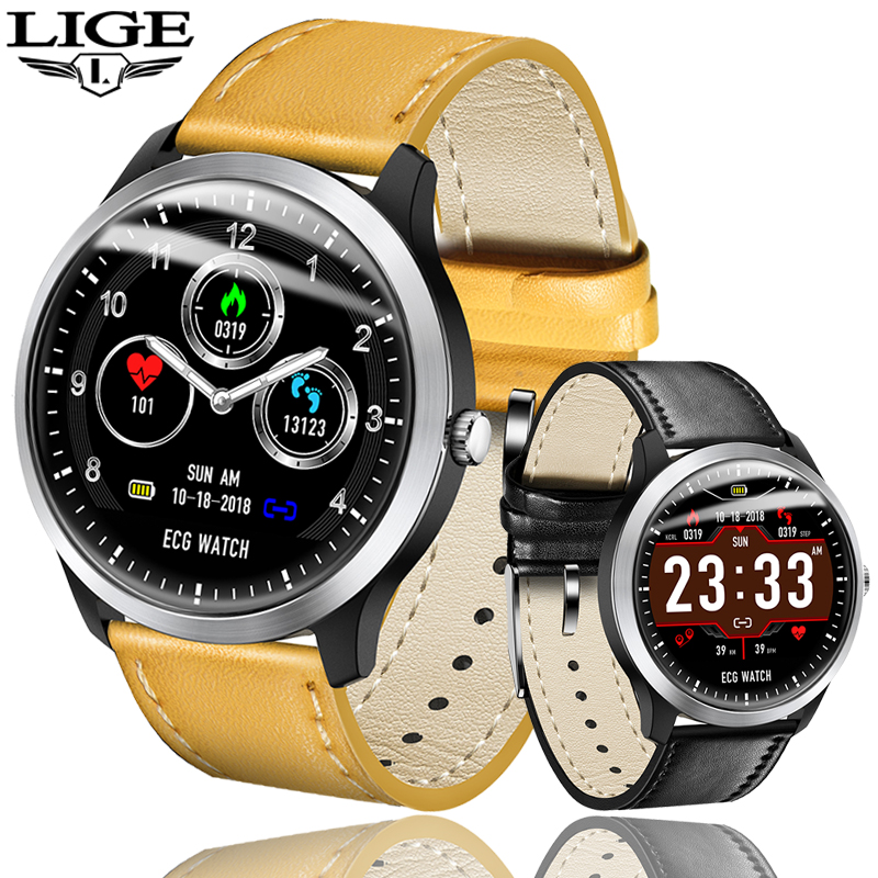 LIGE Smart Watch Men Dynamic ECG HD Display Heart rate Blood pressure Monitor <font><b>OLED</b></font> display Sport Tracker fitness Smart Watch+Box image