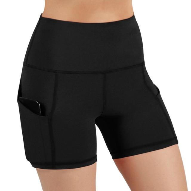 Slim Solid Shaper Sport Women Shorts Pocket High-Waist Hip Stretch Biker Short Running Fitness Athletic Casual Skinny Short 4