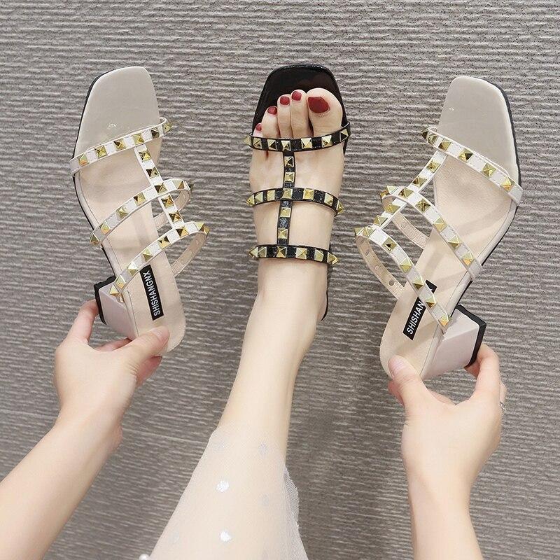 2020 Sexy Classic High Heels Women's Sandals Summer Shoes Ladies Strappy Pumps Platform Heels Woman Ankle Rivet Shoes
