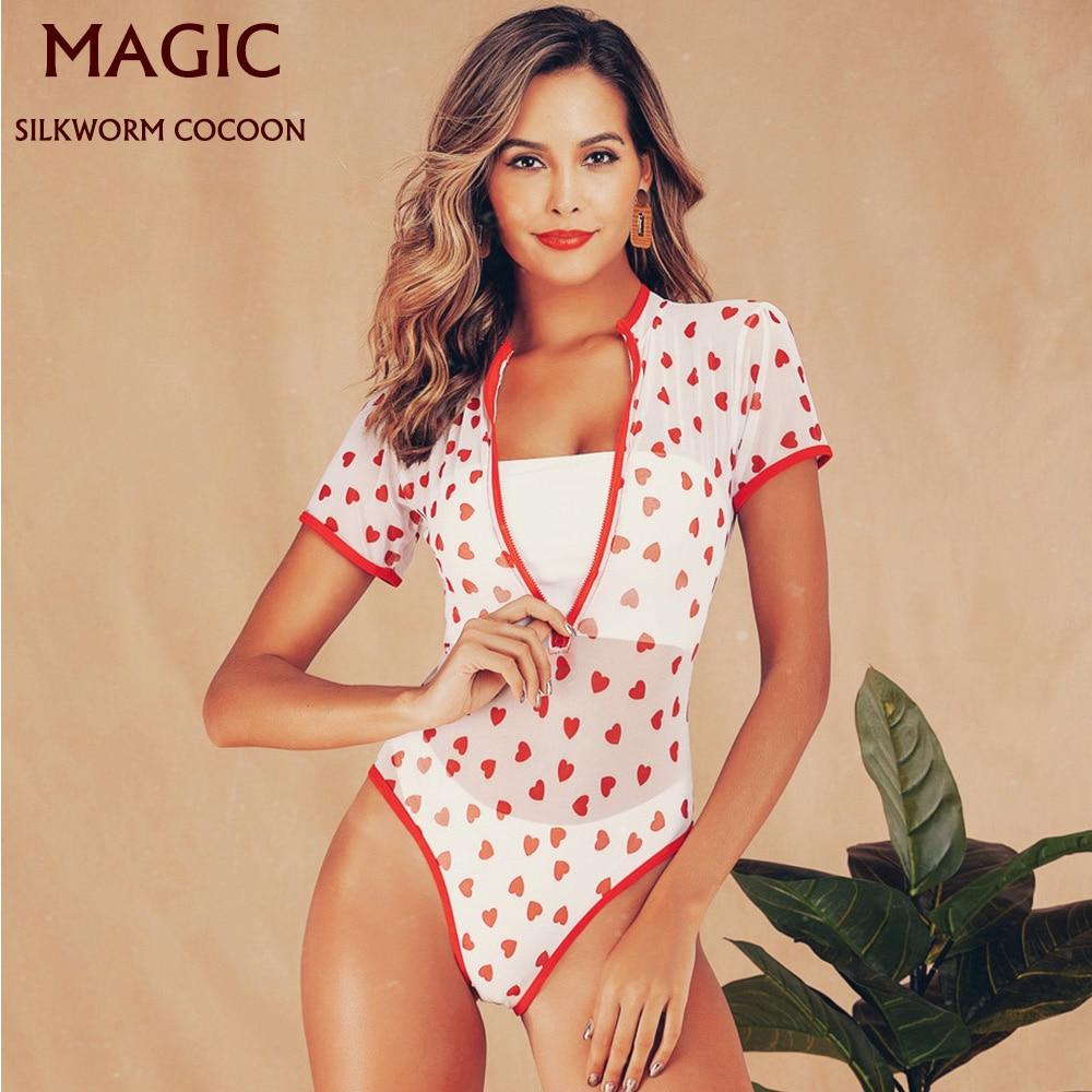New Women Zipper One Piece Swimwear Low Waist Bandeau Biquinis Padded Bra Beach Bikini Set Swimsuit Wrapped Chest Split Bikini