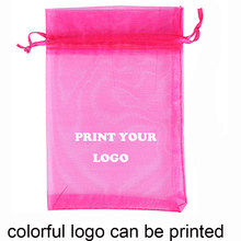 100pcs customized logo printing bags Drawstring Organza Bag small Pouches Jewelry Package Makeup Wedding Packaging Mesh Gift Bag
