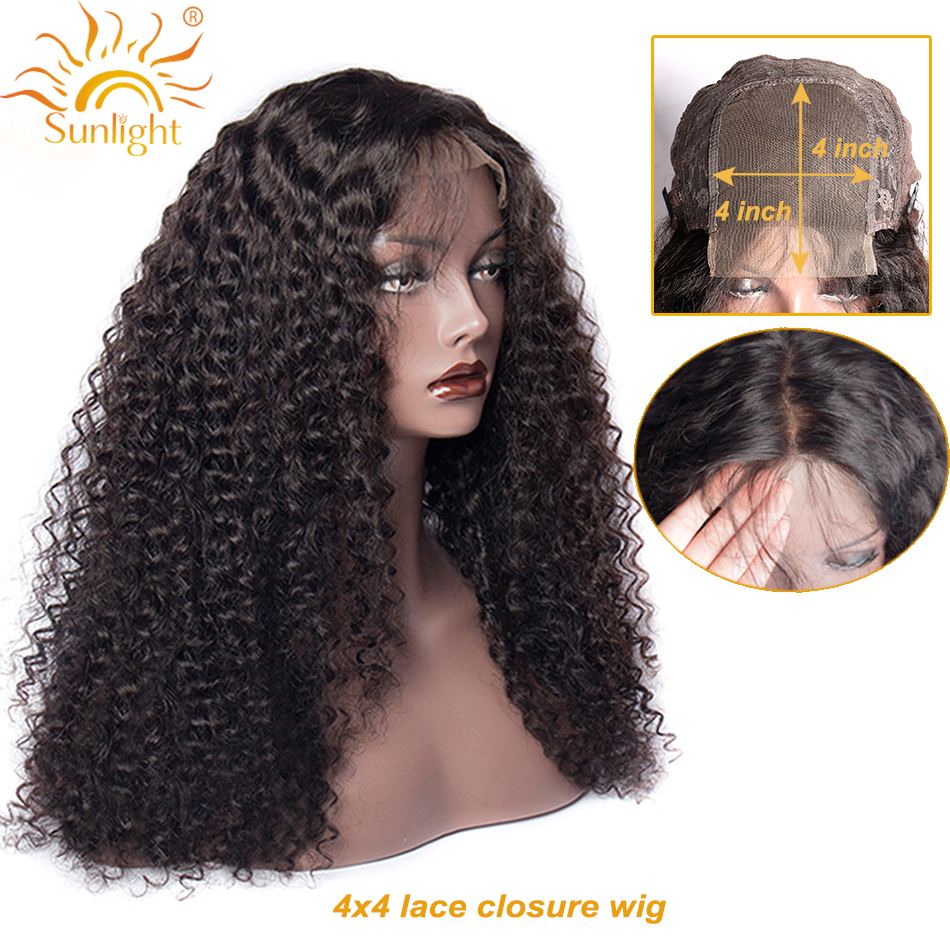 4x4 Closure Wig Brazilian Curly Lace Closure Human Hair Wigs Sunlight Pre Plucked Baby Remy Hair Closure Wigs For Black Women