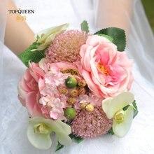 Topqueen Свадебный букет Искусственный подружка красное свадебное