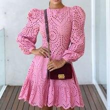 Женское мини платье с длинным рукавом однотонное розовое трапеция