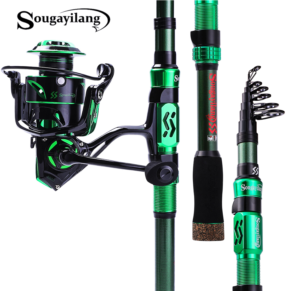 Sougayilang 1.8M-2.4M Fishing Rod Combos with Telescopic Fishing Pole Spinning Reels Fishing Carrier Sets Pesca