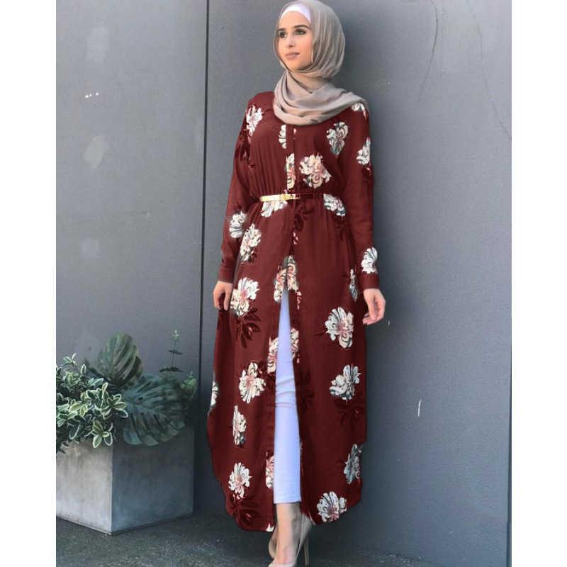WEPDEL モロッコカフタンロングカーディガン印刷アラブドバイマキシドレストルコローブ緩い通気性イスラム服