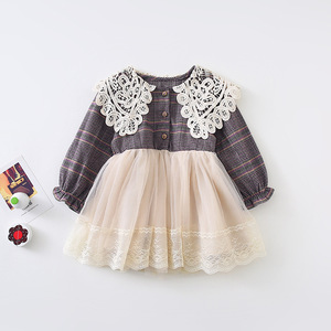 Image 5 - 2019 Autumn New Arrival Korean style cotton plaid matching princess long sleeve dress with lace collar for cute sweet baby girls