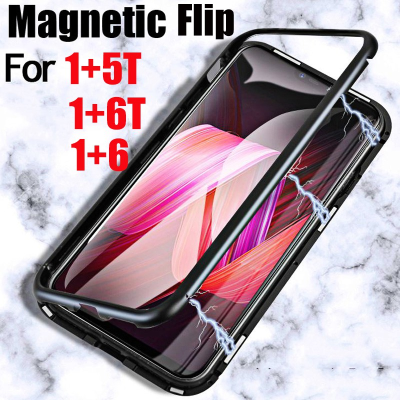 For One Plus 7 6 <font><b>OnePlus</b></font> 7T 6T <font><b>5T</b></font> Pro 1+ 1 + 7 Pro 6 7t Phone <font><b>Case</b></font> Metal Magnetic Adsorption Bumpers Back Tempered <font><b>Glass</b></font> Cover image