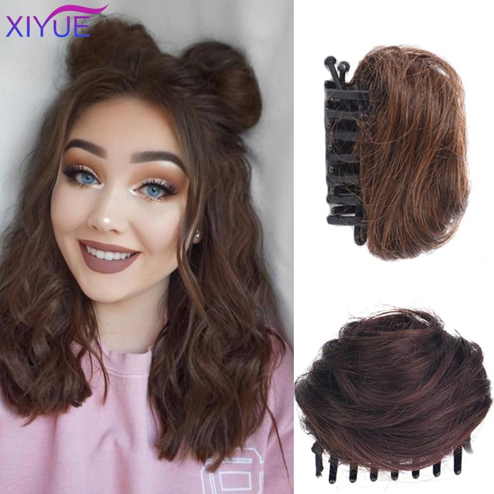 XIYUE женские пучки для волос, синтетический вьющийся шиньон с эффектом омбре